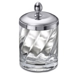Twisted Glass and Chrome Brass Cotton Swabs Jar