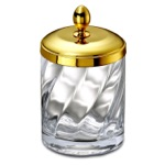 Cotton Swabs Jar Made From Twisted Glass and Gold Brass
