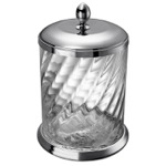 Waste Basket, Windisch 89802CR, Twisted Glass Waste Bin In Chrome Finish