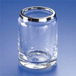 Round Bubbled Crystal Glass Toothbrush Holder