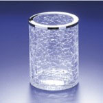 Toothbrush Holder, Windisch 91126, Round Crackled Glass Toothbrush Holder