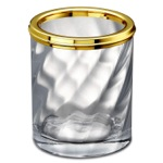 Twisted Glass Toothbrush Holder In Gold Finish