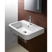 Bathroom Sink Curved Rectangular White Ceramic Wall Mounted Bathroom Sink GSI 693211