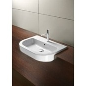 Bathroom Sink Curved White Ceramic Semi-Recessed Bathroom Sink 694511 GSI 694511
