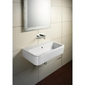 Bathroom Sink Curved Rectangular White Ceramic Wall Mounted or Vessel Bathroom Sink GSI 694911
