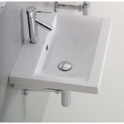 Bathroom Sink Rectangular White Ceramic Wall Mounted or Drop In Bathroom Sink Althea 30383