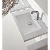 Bathroom Sink Rectangular White Ceramic Wall Mounted or Drop In Bathroom Sink Althea 30109