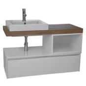 Bathroom Vanity 41 Inch Wall Mount White/Aged Brown Top Vanity Cabinet With Square Vessel Sink ARCOM LAF01