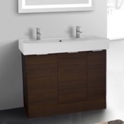 Bathroom Vanity 40 Inch Floor Standing Larch Brown Double Vanity Cabinet With Fitted Sink ARCOM O4T01