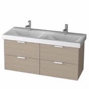 Bathroom Vanity 47 Inch Wall Mount Larch Canapa Double Vanity Cabinet With Fitted Sink DF01 ARCOM DF01