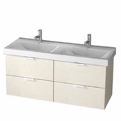 Bathroom Vanity 47 Inch Wall Mount Ash White Double Vanity Cabinet With Fitted Sink DF02 ARCOM DF02