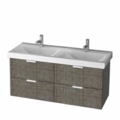 Bathroom Vanity 47 Inch Wall Mount Grey Oak Double Vanity Cabinet With Fitted Sink DF03 ARCOM DF03