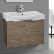Bathroom Vanity 28 Inch Wall Mount Larch Canapa Vanity Set, Curved Sink ARCOM KAL03