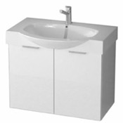 Bathroom Vanity 28 Inch Wall Mount Glossy White Vanity Cabinet With Fitted Curved Sink KAL01 ARCOM KAL01