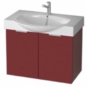 Bathroom Vanity 28 Inch Wall Mount Glossy Red Vanity Cabinet With Fitted Curved Sink KAL05 ARCOM KAL05