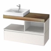 Bathroom Vanity 41 Inch Wall Mount White/Aged Brown Top Vanity Cabinet With Square Vessel Sink LAF01 ARCOM LAF01
