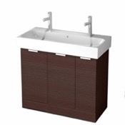 Bathroom Vanity 40 Inch Floor Standing Larch Brown Double Vanity Cabinet With Fitted Sink O4T01 ARCOM O4T01
