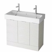 Bathroom Vanity 40 Inch Floor Standing Larch White Double Vanity Cabinet With Fitted Sink O4T02 ARCOM O4T02