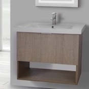 Bathroom Vanity 32 Inch Wall Mount Canapa Tranche Oak Vanity Set, 1 Drawer and Open Space ARCOM OP01