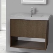 Bathroom Vanity 32 Inch Wall Mount Ecru Tranche Oak Vanity Set, 1 Drawer and Open Space ARCOM OP02