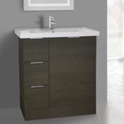 Bathroom Vanity 31 Inch Floor Standing Grey Oak Vanity Cabinet With Fitted Sink ARCOM WA01