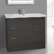 Bathroom Vanity 39 Inch Floor Standing Grey Oak Vanity Cabinet With Fitted Sink ARCOM WA04