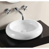 Bathroom Sink Round White Ceramic Vessel Bathroom Sink Caracalla CA4027