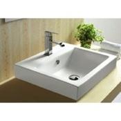 Bathroom Sink White Ceramic Drop In or Wall Mounted Bathroom Sink Caracalla CA4034A