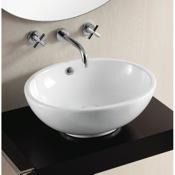Bathroom Sink Oval White Ceramic Vessel Bathroom Sink Caracalla CA4094
