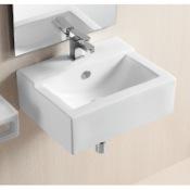 Bathroom Sink Rectangular White Ceramic Wall Mounted Or Vessel Bathroom Sink Caracalla CA4103C
