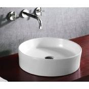 Bathroom Sink Circular White Ceramic Vessel Bathroom Sink Caracalla CA4115