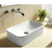 Bathroom Sink Rectangular White Ceramic Vessel Bathroom Sink Caracalla CA4120
