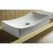 Bathroom Sink Rectangular White Ceramic Vessel Bathroom Sink Caracalla CA4145