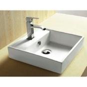 Bathroom Sink Square White Ceramic Self Rimming Bathroom Sink CA4148A Caracalla CA4148A