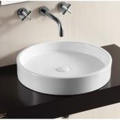 Bathroom Sink Circular White Ceramic Vessel Bathroom Sink Caracalla CA4261