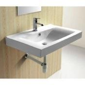 Bathroom Sink Rectangular White Ceramic Wall Mounted bathroom Sink Caracalla CA4270B