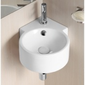 Bathroom Sink Round White Ceramic Wall Mounted Corner Bathroom Sink Caracalla CA4296