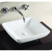 Bathroom Sink Square White Ceramic Vessel Bathroom Sink Caracalla CA4322