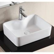 Bathroom Sink Rectangular White Ceramic Vessel Bathroom Sink Caracalla CA4569A
