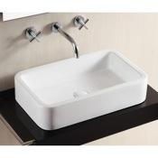 Bathroom Sink Rectangular White Ceramic Vessel Bathroom Sink Caracalla CA4962