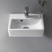 Bathroom Sink Rectangle White Ceramic Wall Mounted or Vessel Sink CeraStyle 001400-U