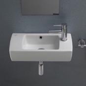 Bathroom Sink Rectangular White Ceramic Wall Mounted or Drop In Bathroom Sink CeraStyle 001500-U