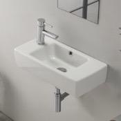 Bathroom Sink Rectangular White Ceramic Wall Mounted or Drop In Bathroom Sink CeraStyle 001600-U