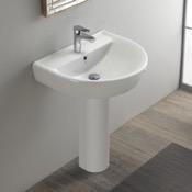 Bathroom Sink Round White Ceramic Pedestal Sink CeraStyle 003100U-PED