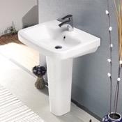 Bathroom Sink Rectangular White Ceramic Pedestal Sink CeraStyle 007700U-PED