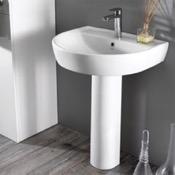 Bathroom Sink Round White Ceramic Pedestal Sink CeraStyle 007800U-PED