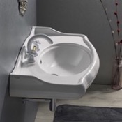 Bathroom Sink Rectangle White Ceramic Wall Mounted Sink CeraStyle 030400-U