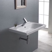 Bathroom Sink Rectangle White Ceramic Wall Mounted or Self Rimming Sink CeraStyle 031000-U
