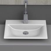 Bathroom Sink Rectangle White Ceramic Vessel or Drop In Sink CeraStyle 031600-U