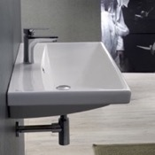 Bathroom Sink Rectangle White Ceramic Wall Mounted or Self Rimming Sink CeraStyle 032000-U